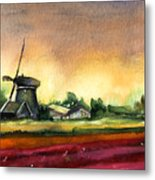 Tulips And Windmill From The Netherlands Metal Print