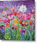 Tulips Are Magic In The Night Metal Print