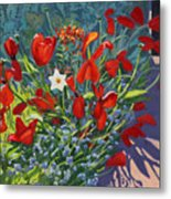 Tulips By The Gate Metal Print
