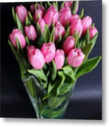 Tulips In A Glass Vase Metal Print