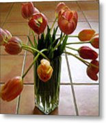 Tulips In A Vase On Tile Metal Print