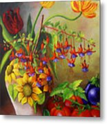 Tulips In A Vase With Some Tomatoes Metal Print