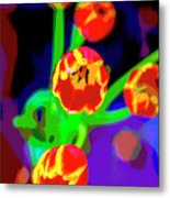 Tulips In Abstract Metal Print