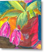 Tulips In Can Metal Print