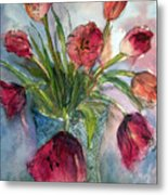 Tulips In Rosie's Vase Metal Print