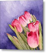 Tulips In The Wind Metal Print
