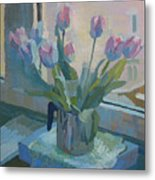 Tulips On A Window  Metal Print
