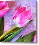 Tulips Meets Texture Metal Print