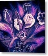 Tulips On Black Metal Print