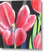 Tulips On Black Metal Print