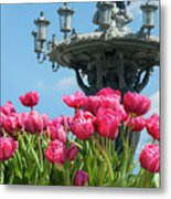 Tulips With Bartholdi Fountain Metal Print