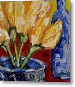 Tulips With Blue Bottle Metal Print