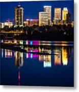 Tulsa Skyline At Twilight Metal Print by Tamyra Ayles