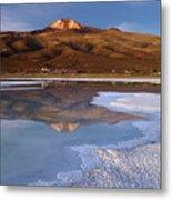 Tunupa Volcano Reflected In Salar De Uyuni At Twilight Bolivia Metal Print