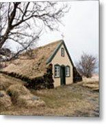 Turf Church At Hof In Iceland Metal Print