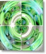 Turquoise And Green Abstract Collage Metal Print