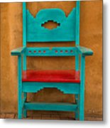 Turquoise And Red Chair Metal Print
