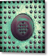 Green And Violet Dots In Cube Metal Print