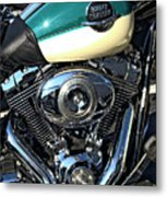 Turquoise And White Harley Tank And Motor Metal Print
