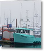 Turquoise Fishing Boat Metal Print