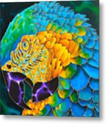 Turquoise Gold Macaw  Metal Print by Daniel Jean-Baptiste