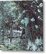 Turquoise Muted Garden Respite Metal Print