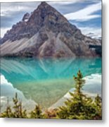 Turquoise Reflection At Bow Lake Metal Print