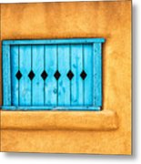 Turquoise Window Shutter Metal Print