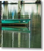 Turquoise Workboat On The Calm Harbor Metal Print