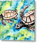 Turtle Love Pair Of Sea Turtles Metal Print