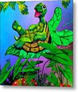 Turtle Trampoline Metal Print