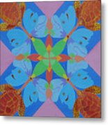 Turtles And Butterfly People Metal Print