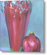 Tuscan Elements -italian Vase With Pomegranate Metal Print