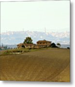 Tuscan Farm House With The City Of Siena On The Background Metal Print