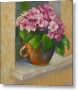 Tuscan Flower Pot Oil Painting Metal Print