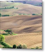 Tuscan Landscape With Plowed Fields Metal Print