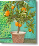 Tuscan Orange Topiary - Damask Pattern 2 Metal Print