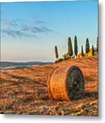 Tuscany Landscape With Farm House At Sunset, Val D'orcia, Italy Metal Print