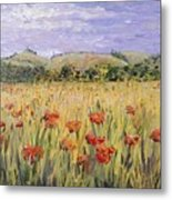 Tuscany Poppies Metal Print by Nadine Rippelmeyer