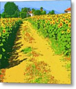 Tuscany Sunflowers Metal Print
