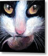 Tuxedo Cat With Mouse Metal Print