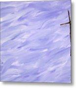 Twig Cross On Purple Metal Print