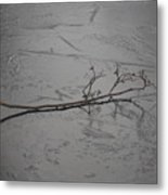 Twig On A Frozen Lake Metal Print