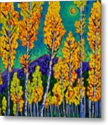 Twilight Aspens Metal Print