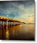 Twilight Biloxi Bridge Metal Print
