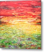 Twilight Bounds Softly Forth On The Wildflowers Metal Print
