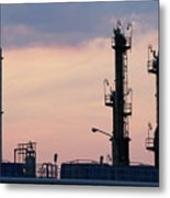 Twilight Over Petrochemical Plant Metal Print