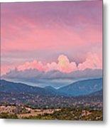 Twilight Panorama Of Sangre De Cristo Mountains And Santa Fe - New Mexico Land Of Enchantment Metal Print