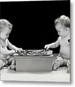 Twin Babies Playing Checkers, C.1930-40s Metal Print