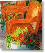 Twin Benches Metal Print